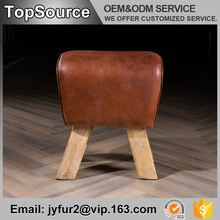 Bar Furniture Oak Wood Frame Leather Cover Ottoman Pouf Furniture
