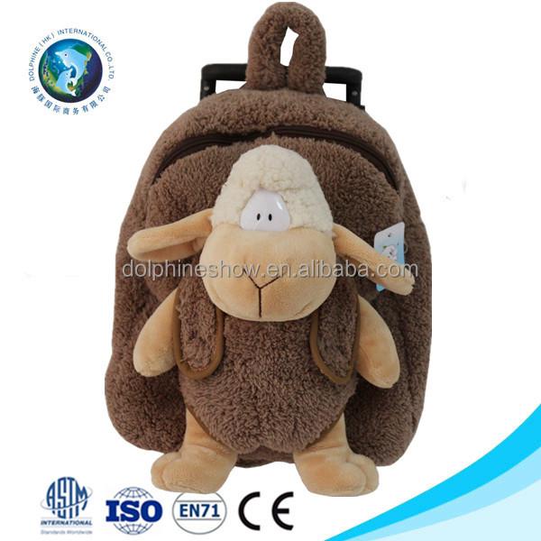 9499c7169eb9 2016 Fashion custom kids school bag backpack promotional cute soft plush  sheep trolley school bag