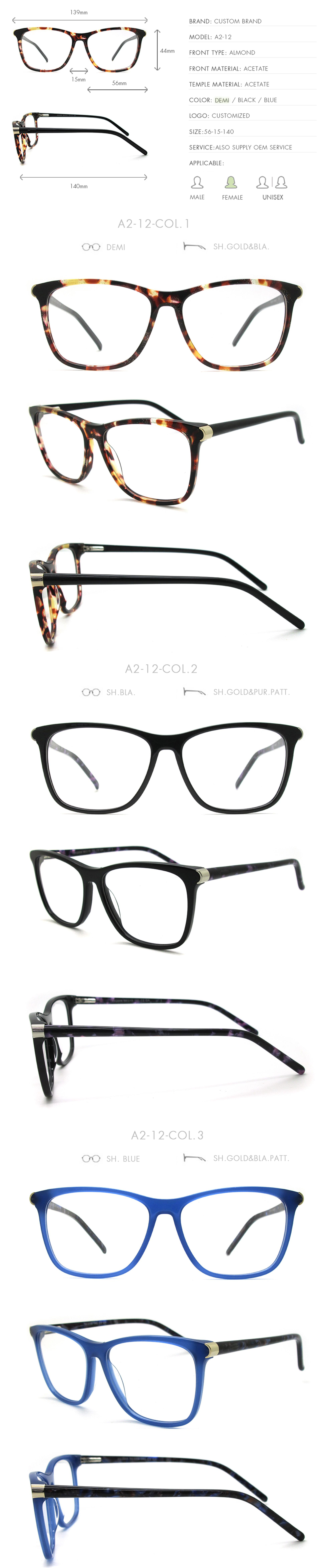 68104ad07dc A2-12 2018 Eye Glasses Acetate Women Optical Frames Factory Manufacturer  Eyewear Decorative Spectacle Eyeglasses