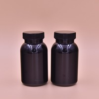 Empty Food Graded Pill Supplement Bottle Bullet Cosmo Round Packaging 130ml 130cc Capsule PET Container with Black Twist On Cap