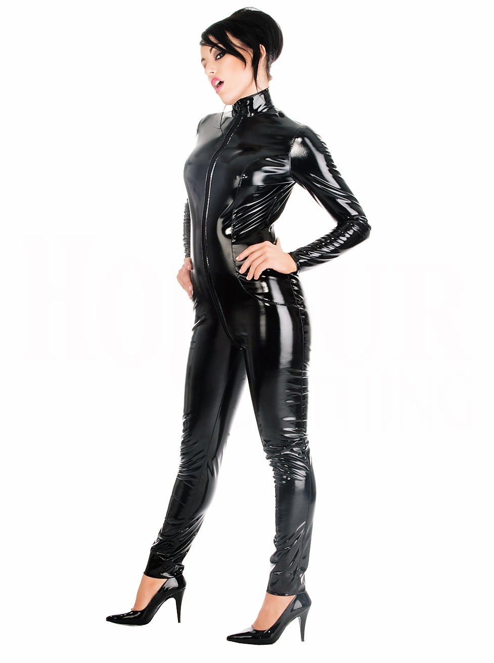 Sexy ladies cosplay cat costume red zip up tight fetish pvc bondage catsuit