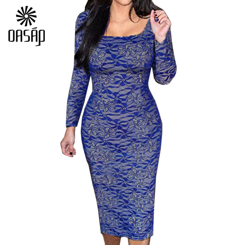 0ce5fd6a3e44 Get Quotations · OASAP 2015 New Arrival Fashion Women USA Style Sexy Blue  Lace Long Sleeves Midi Dress Party