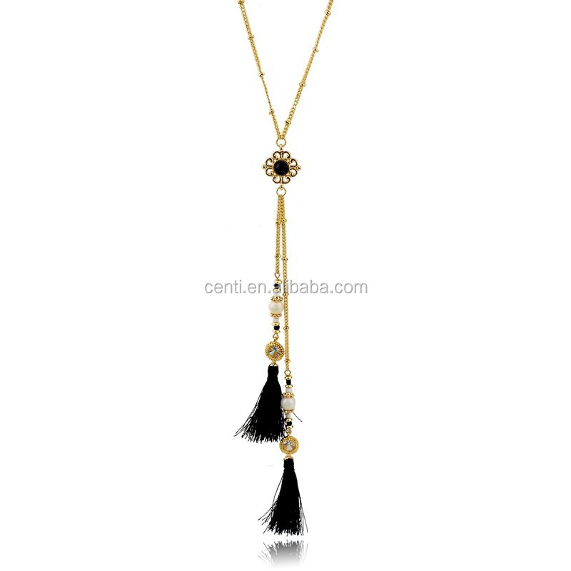 Pearl and Rhinestone Tassel Necklace Gold Plating Chain Neckalce Wholesale Gemstone Necklace Jewellery