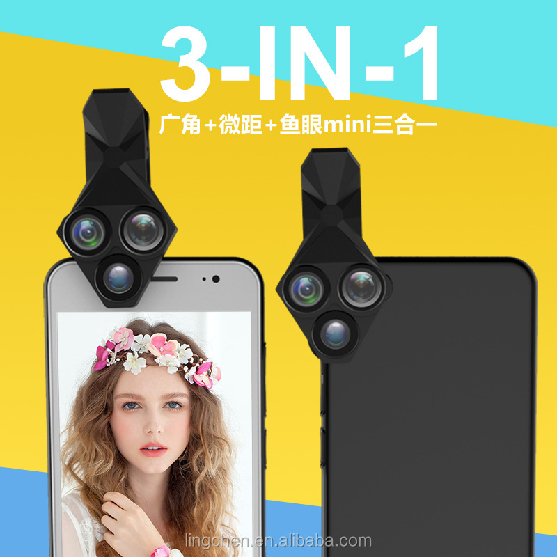 For Iphone X 3 in 1 For Iphone Universal Camera Lens Mobile Phone Fisheye Macro Wide Angle Fisheye for iphoneX