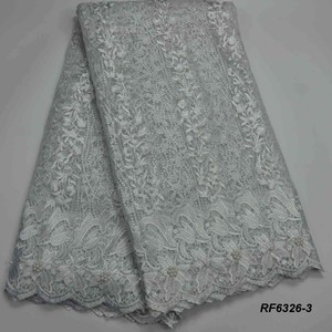 Ivory beaded net tulle lace material for wedding fabric with stone french laces wholesale