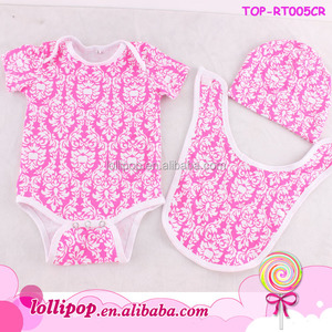 Wholesale hot pink damask kids clothes best selling baby cotton romper 3pcs set