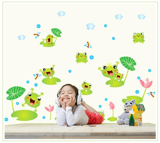 Cute Green Frog wall stickers kindergarten children Bedroom Bathroom wall decals Wall Decor Kids Room Wallpaper home decor