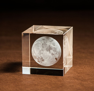 Customized 3D laser big moon Crystal Glass Paperweight