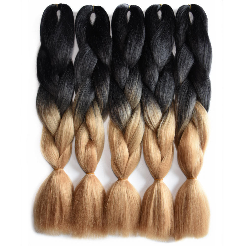 Jumbo Braids Hair Extensions & Wigs Precise Feilimei Two Tone Color Crochet Hair Extensions Kanekalon Hair Synthetic Crochet Braids Ombre Jumbo Braiding Hair Extensions Beautiful And Charming