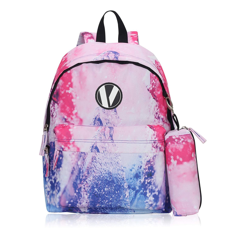 1b2ea96511 Veegul Cute School Backpack Printed Backpack with Pencil Case Bag Set for  Kids (Pink)