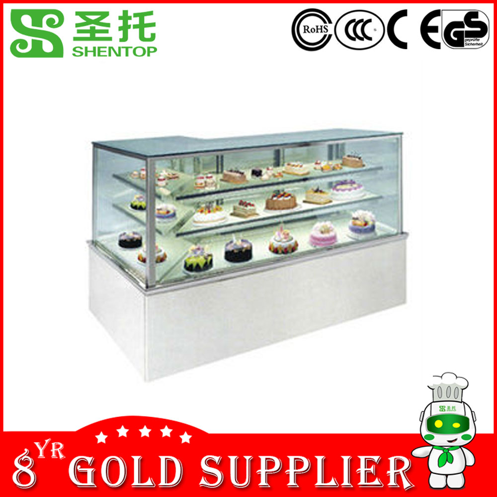Shentop factory showcase refrigerator price STLC-Q37 Vertical Bakery Display Cabinet LED marble or stainless steel Cake Showcase