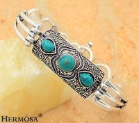 Hermosa Jewelry Bali Design Genuine Turquoise 925 Sterling Silver Vintage Men Bracelet BR13