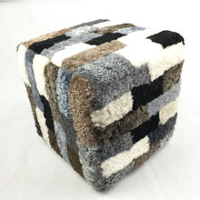 home goods sheepskin fur real leather pouf ottoman
