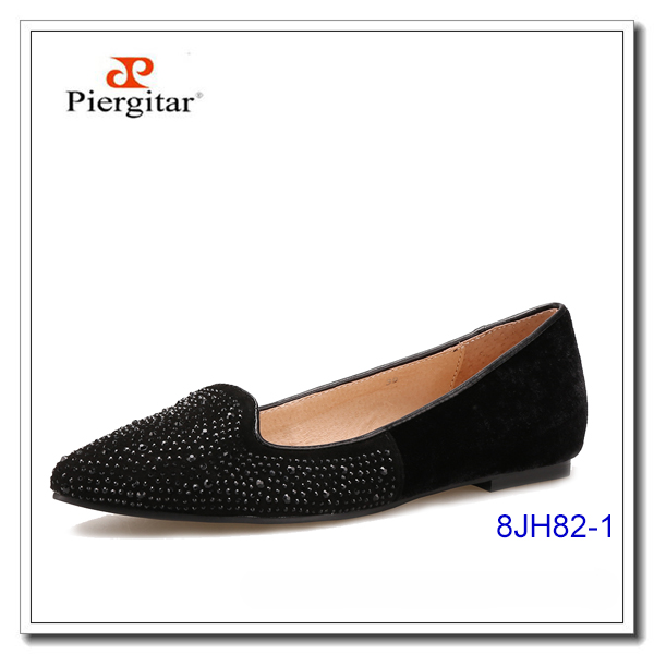 Black Women Pearl Loafers Leather lined Lady Lightness Shoes