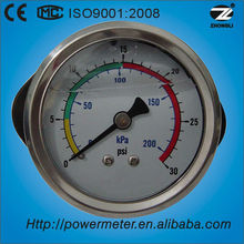 "60mm 2.5"" air tyre pressure gauge with front flange oil filling low pressure levle manometer"