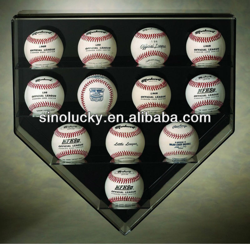 wall mounted tie display case , acrylic 12 base ball home plate wall mount display case