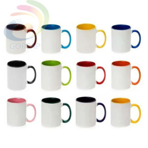 China factory sublimation mug with color handle and rim coffee photography photo mugs online shopping gold supplier