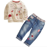 2017 New Arrival Toddler Cute Baby Girl 2pcs Children Sets Long Sleeve Tops Jeans Children Sets Spring Autumn Outfits