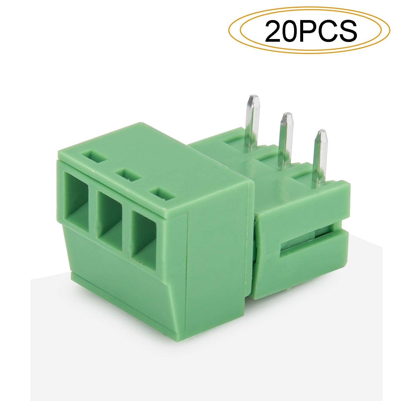 DIYhz 3P Connector Pitch 3.81MM Loose Female Plug HZ2EDG-3.81 250V/300V 7A/8A Green 20 PCS