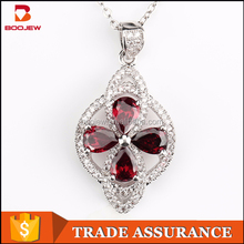 fashion jewellry red aaa zircons sri lankan wedding necklace designs jewellery silver pendant necklace