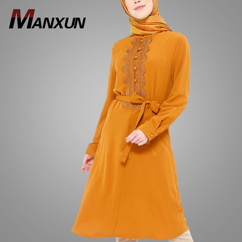 Simple Style Muslim Tunic For Ladies Long Sleeve Lace Design Fashion Islamic Clothing With Belt India Style Tops Dress