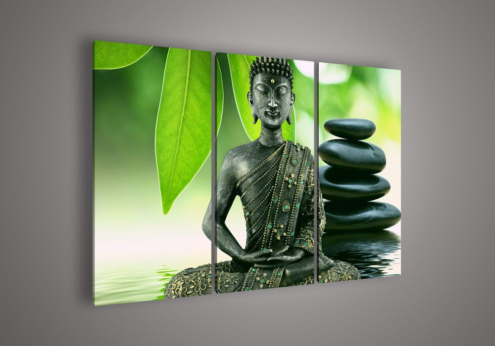 -3-Piece-Wall-Art-Religion-Buddha-Green-Oil-Painting-On