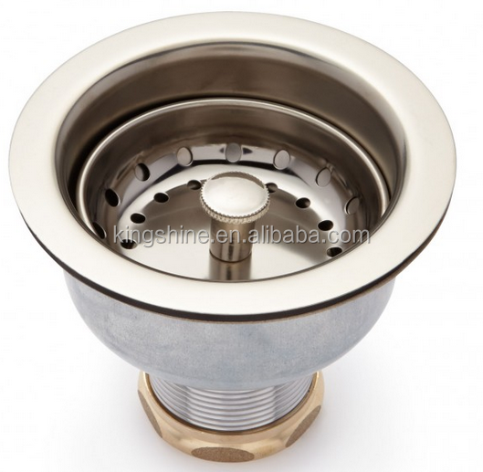 "Kitchen Stainless Steel Sink Basin Hole Cover Strainer Drainer Filter / 3-1/2"" Basket Strainer with Disposer Trim"