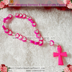 hand made pink plastic heart bead rosary bangle,rosary bracelet