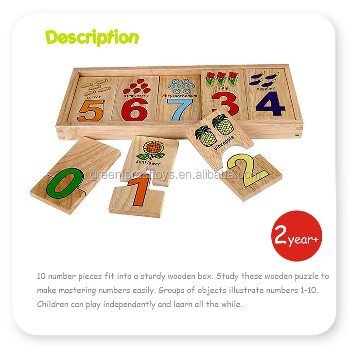 Self-Correcting Wooden Number Puzzles With Storage Box With Toys Puzzle