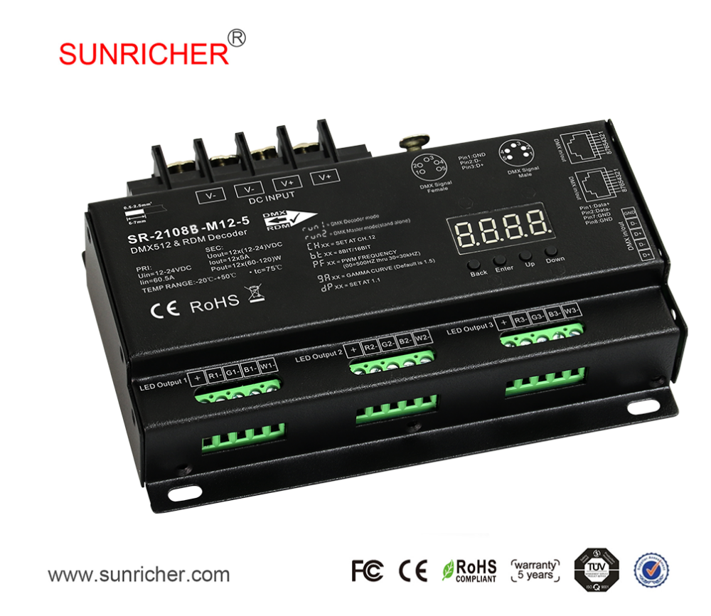 High frequency pwm signal 5a/ch 12 channel dmx 512 SR-2108B-M12-3