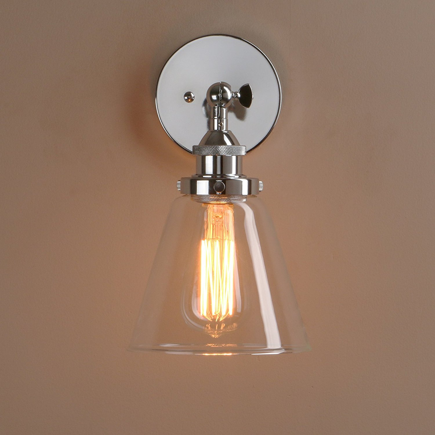 Get Quotations Pathson Loft Vintage Wall Lamp Dia 6 4 Sconce With One Light In Funnel Clear