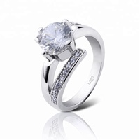 Wholesale Luxury Style Sterling Silver Engagement Ring, Diamond Solid Silver Band Ring