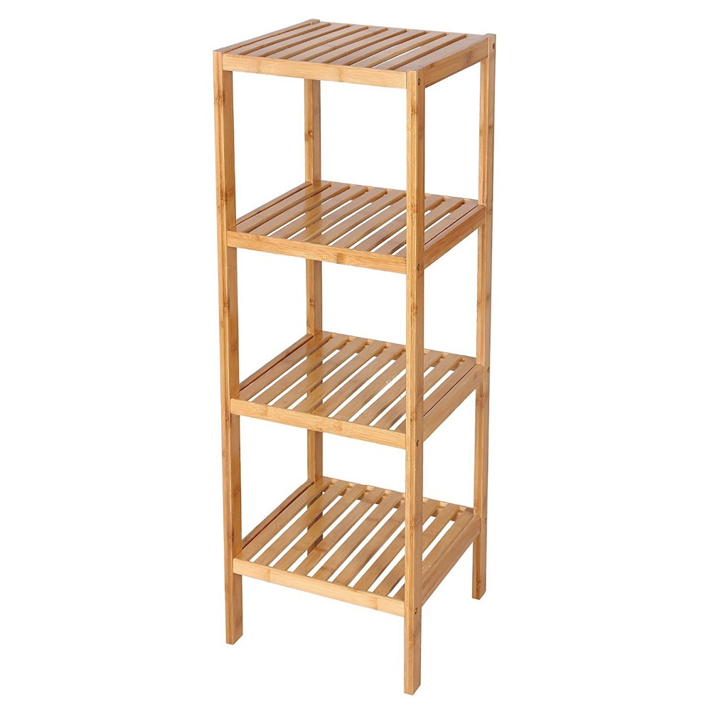 Bamboo Bathroom Shelf 4-Tier Multifunctional Storage Rack
