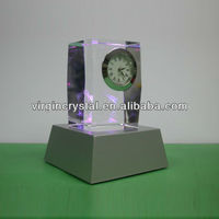 3D laser engraving crystal block desk table clocks with led base