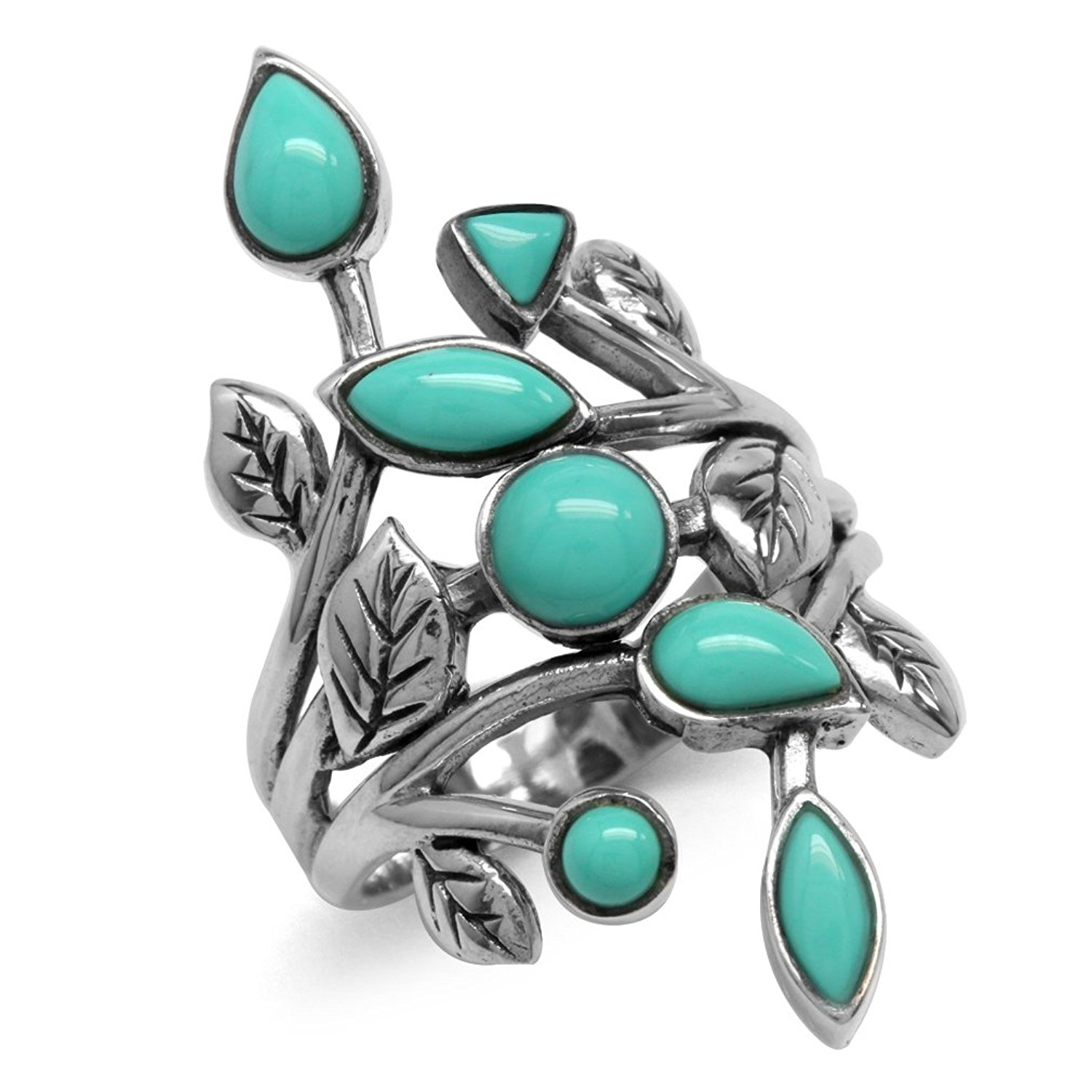 Created Green Turquoise 925 Sterling Silver Leaf Vintage Style Ring