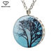 Retail Online Shopping Epoxy Round Shape Essential Oil Perfume Family Tree Of Life Pendant Necklace