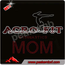 New Arrival Acro Fit Mom Rhinestone Transfers Iron ons Design