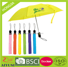 Bright Plain yellow/blue/green/pink/black/red color 2 section auto open rain umbrella for sale