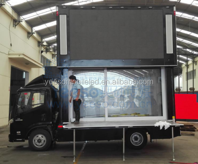Outdoor Mobile LED Screen Display Advertising truck with stage and lifting system :YES-V6