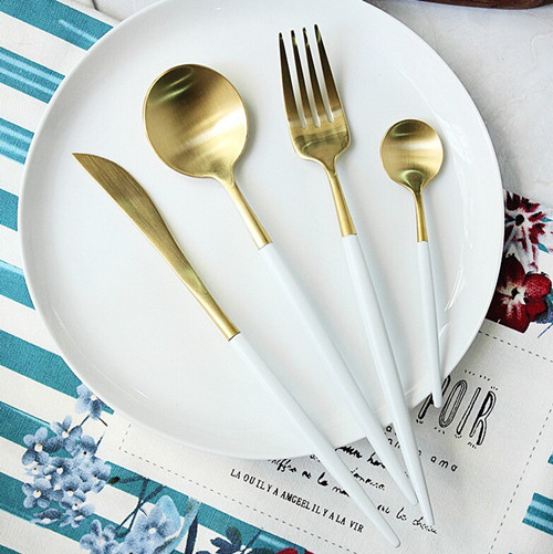 Round handle matte gold black copper color 18/10 flatware