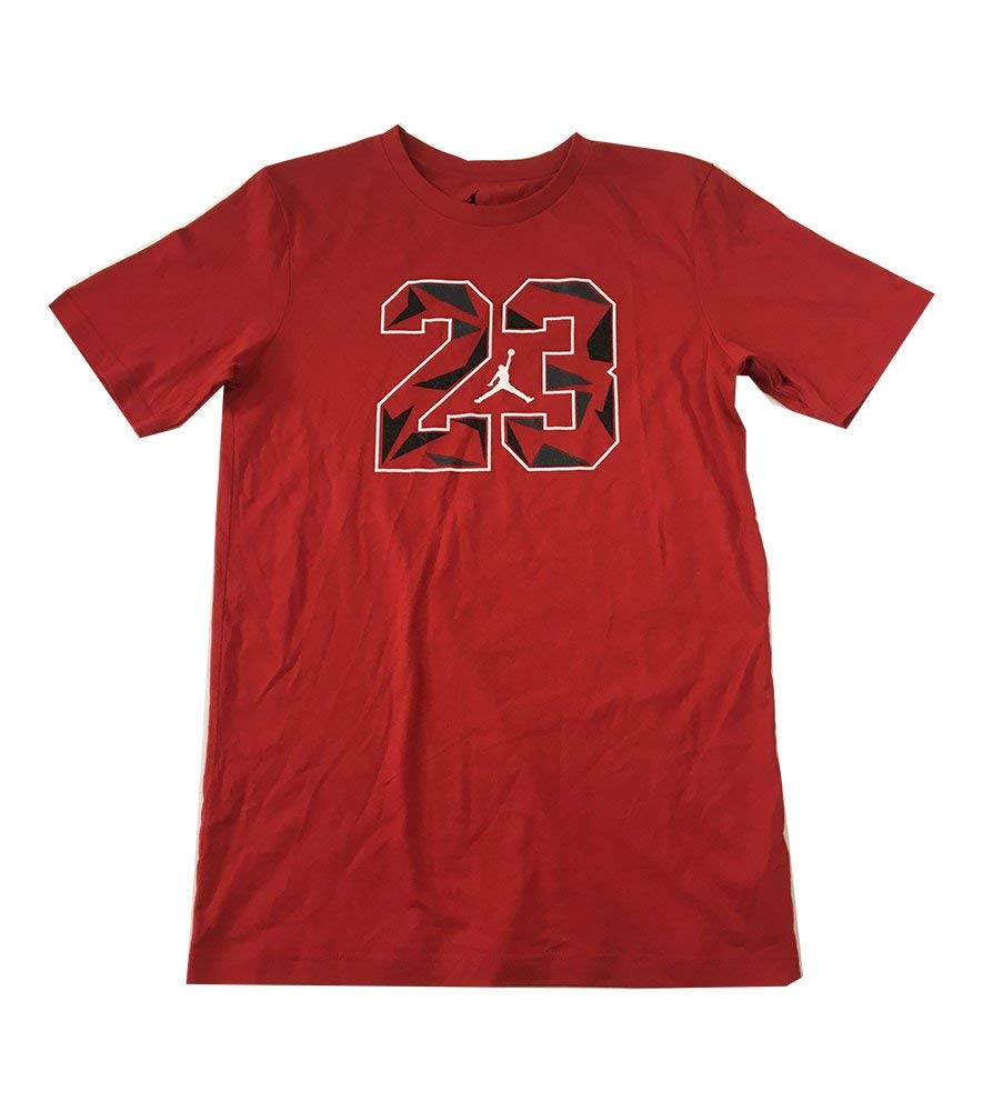 4a26de952ef Get Quotations · Jordan Jumpman 23 Logo Big Boys Tee Shirt Gym Red Grey  Size Medium (10