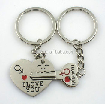 Hot sell valentine's day gift key to my heart zinc alloy metal key chain love couple keychains key rings