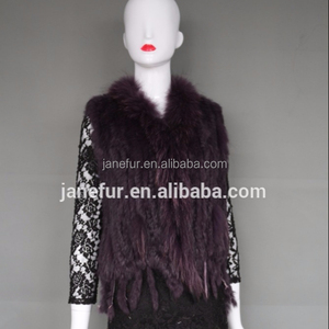 Fast Sell Handmade Rabbit Fur Vest/ Knit Waistcoat / Ladies Fur Gilet With Raccoon Fur Collar