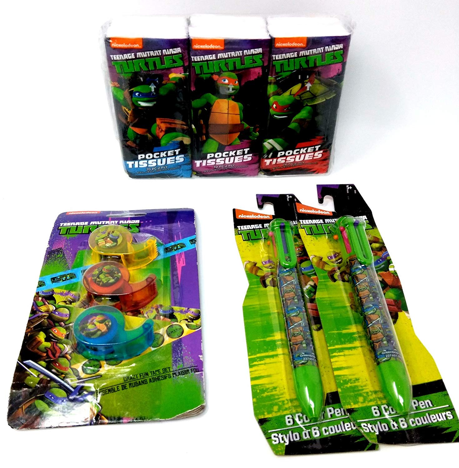 Back to School Toddler Pre-school Elementary School Tissues (3pc) Pens Set Of (2) Tape Dispenser (3pc) Teenage Mutant Ninja Turtles Ralpheal Donotello Leonardo & Micheal Angelo