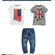 KS10005B Wholesale boys summer clothing sets fashion flag printed tops and jeans photos