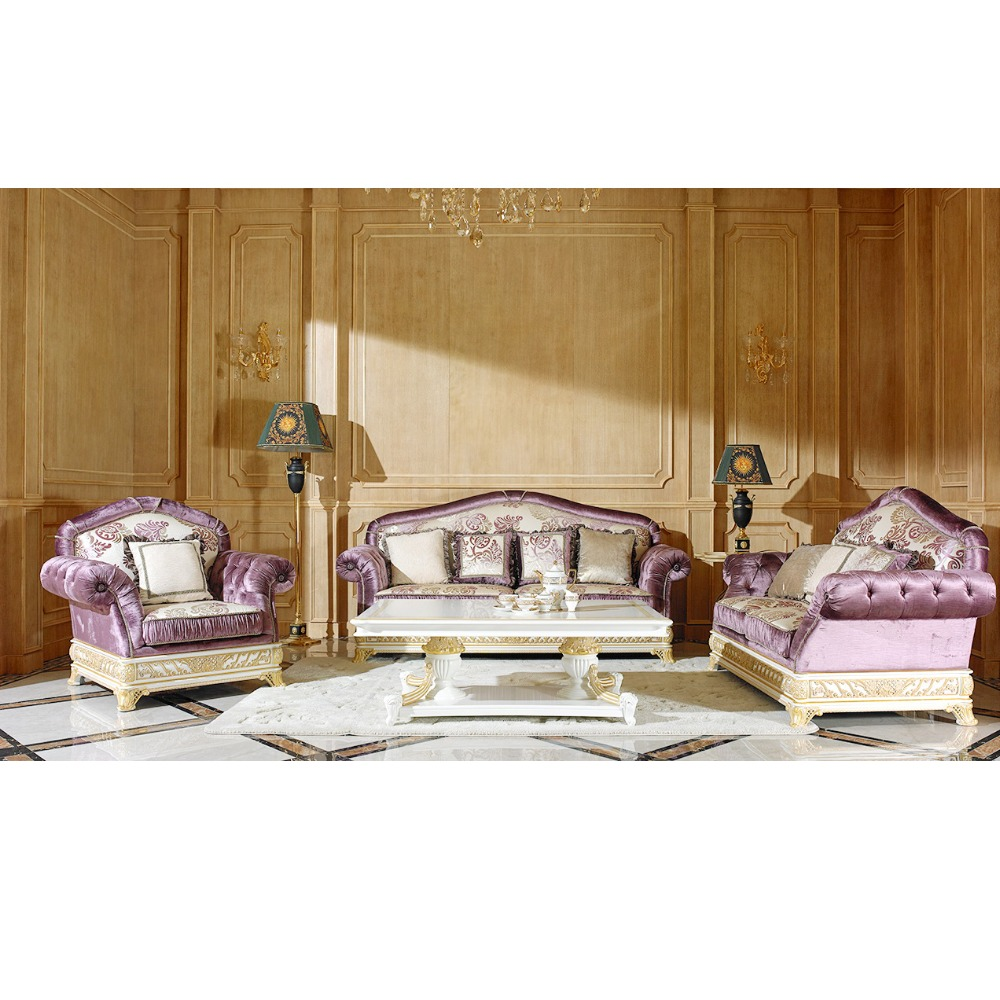 Yb62 luxury sofa set new designs italian antique style sofa classic living room white wooden frame fabric furniture