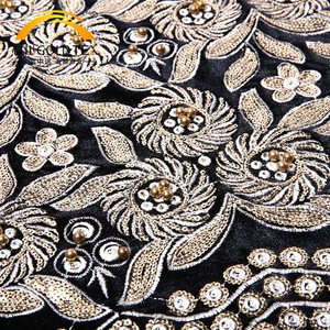 Custom design black gold indian beading embroidery velvet sequin fabric for garment