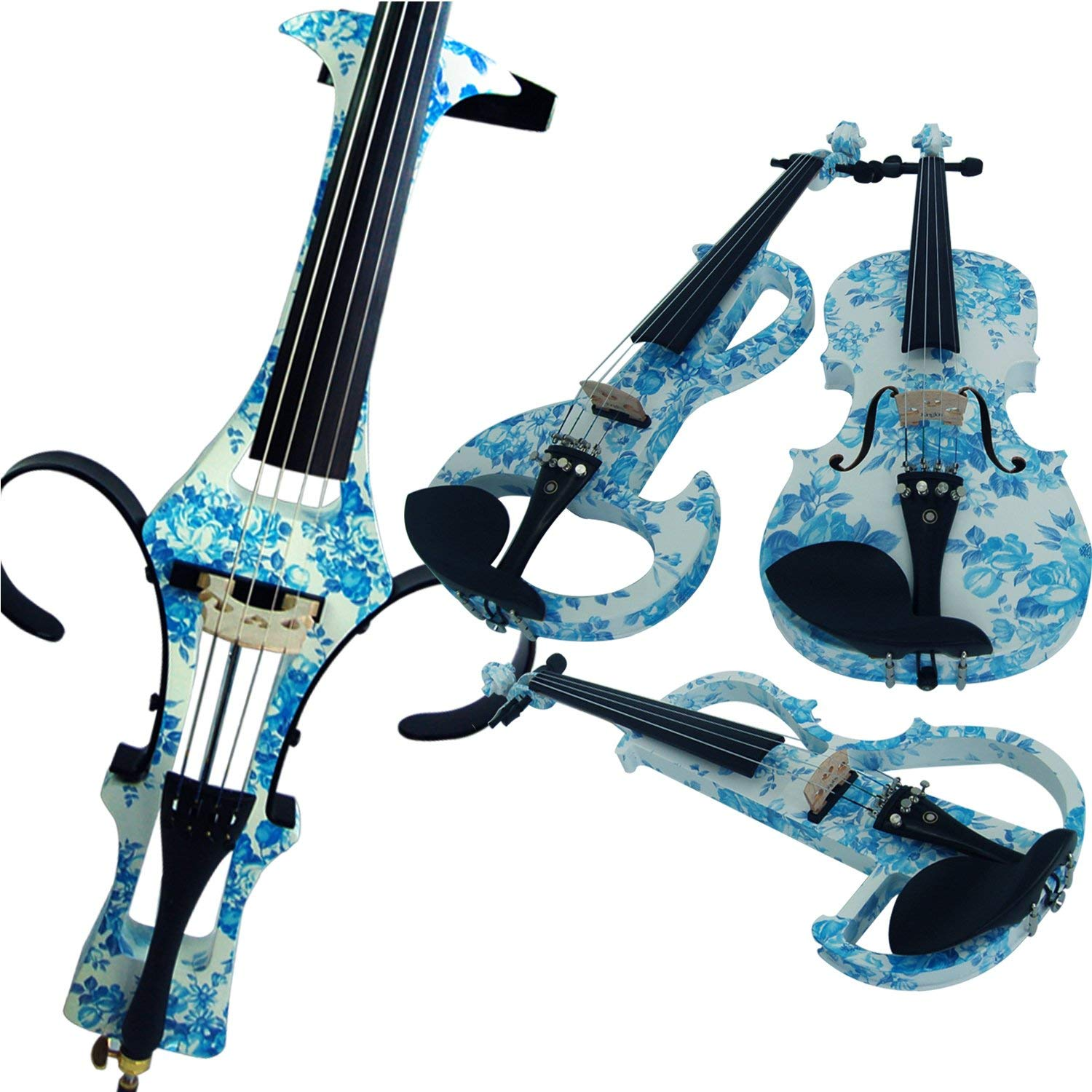 Aliyes Acoustic Violins Full Size Solid Wood Intermediate White&Blue Flowers Violin Kit For Beginners With Case,Shoulder Rest,Bow,Rosin,Extra Bridge And Strings(ALYSDS-1201)