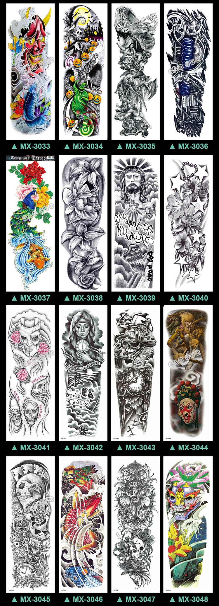 48*17CM Full Arm Tattoo Stickers Catalogue