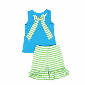 turquoise tank top big bowknot baby green stripe summer girl baby clothing set